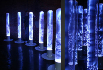 An installation of Wayne Strattman's neon plasma art